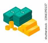 gold bars pile  dollars bundles ... | Shutterstock .eps vector #1346190137