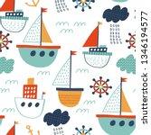 seamless vector marine pattern. ... | Shutterstock .eps vector #1346194577