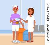 passengers in airport. family...   Shutterstock .eps vector #1346212484