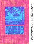 aloha hawaii. hand lettering...   Shutterstock .eps vector #1346213594