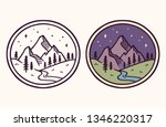 simple  stylized mountain... | Shutterstock .eps vector #1346220317