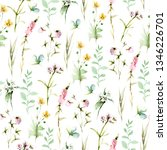 hand drawing watercolor spring...   Shutterstock . vector #1346226701