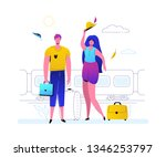 traveling by train   colorful...   Shutterstock .eps vector #1346253797