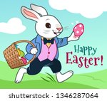 Stock vector easter bunny running in a field with basket full of colorful chocolate eggs vector cartoon 1346287064