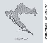 scribble sketch of croatia map... | Shutterstock .eps vector #1346287754