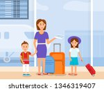 mother traveling with little...   Shutterstock .eps vector #1346319407