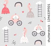 childish seamless pattern with... | Shutterstock .eps vector #1346339501