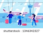 people at airport terminal...   Shutterstock .eps vector #1346342327