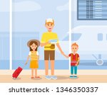 father travelling with little...   Shutterstock .eps vector #1346350337