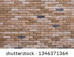 brown stone brick wall with for ... | Shutterstock . vector #1346371364