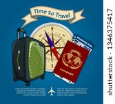 time to travel. travel luggage  ...   Shutterstock .eps vector #1346375417