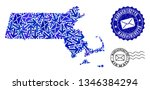mail combination of blue mosaic ... | Shutterstock .eps vector #1346384294
