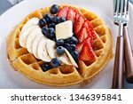 waffle with fresh banana and... | Shutterstock . vector #1346395841