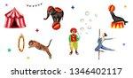 circus set elements  elephant ...   Shutterstock . vector #1346402117