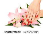 closeup image of red manicure... | Shutterstock . vector #134640404