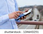 port engineer is using the... | Shutterstock . vector #134643251
