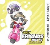 cute panda on scooter... | Shutterstock .eps vector #1346443094