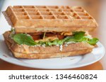 belgian waffle with meat and... | Shutterstock . vector #1346460824