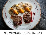 top view closeup grilled meat... | Shutterstock . vector #1346467361