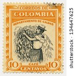 colombia   circa 1956  a stamp... | Shutterstock . vector #134647625