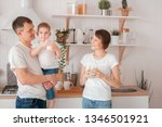 happy family are drinking milk... | Shutterstock . vector #1346501921