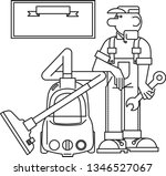 vacuum cleaner repairman | Shutterstock .eps vector #1346527067