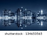 manhattan at night  new york... | Shutterstock . vector #134653565