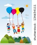 four children rising into the... | Shutterstock .eps vector #134654111