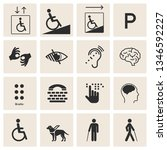 set of disability icons  mental ... | Shutterstock .eps vector #1346592227