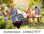 grandparents drinking  wine and ... | Shutterstock . vector #1346617577