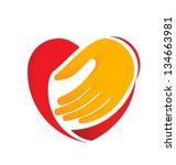hand holding heart | Shutterstock .eps vector #134663981