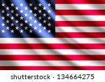 waving flag of usa   Shutterstock . vector #134664275