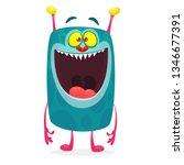 cartoon alien character. vector ... | Shutterstock .eps vector #1346677391