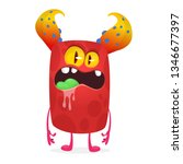 angry cartoon monster design... | Shutterstock .eps vector #1346677397
