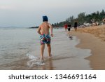8 year old boy runs on the long ... | Shutterstock . vector #1346691164