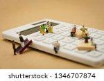 miniature people pay queue... | Shutterstock . vector #1346707874