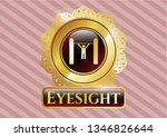 gold emblem with pull up icon... | Shutterstock .eps vector #1346826644