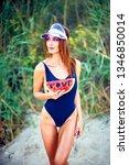 young slim model in cap and...   Shutterstock . vector #1346850014