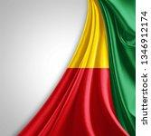 benin flag of silk with... | Shutterstock . vector #1346912174