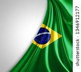 brazil flag of silk with... | Shutterstock . vector #1346912177