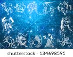 zodiac signs on blue background | Shutterstock . vector #134698595