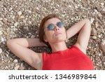 waist up portrait of woman... | Shutterstock . vector #1346989844