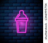 lilac pink neon sign on brick... | Shutterstock .eps vector #1346995754