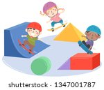 illustration of kids on... | Shutterstock .eps vector #1347001787