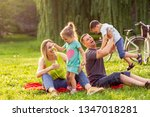 young family with little... | Shutterstock . vector #1347018281