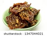 fried beef with white pepper in ... | Shutterstock . vector #1347044021