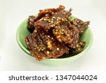 fried beef with white pepper in ... | Shutterstock . vector #1347044024