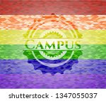 campus emblem on mosaic... | Shutterstock .eps vector #1347055037