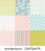 seamless patterns with fabric... | Shutterstock .eps vector #134706479