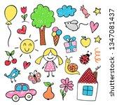 children drawings in bright... | Shutterstock .eps vector #1347081437